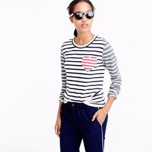 J.Crew Women Top Inset Heart Striped Combo T-Shirt